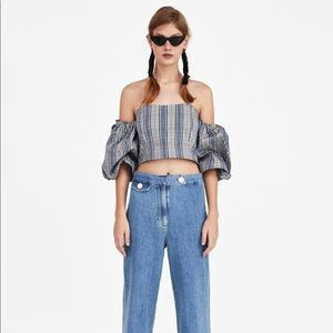 Zara checked crop top